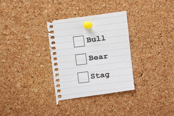 Bull, Bear or Stag Stock Market Trading concept