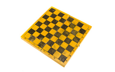 vintage old wooden chessboard isolated on white