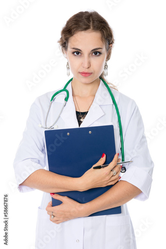 Portrait of a young nurse prosperous holding plate for records