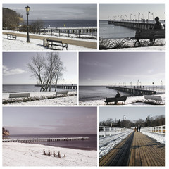 beach wooden pier in baltic sea - Orlowo, Collage