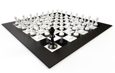 A chessboard with many pedestrians and a king, white background