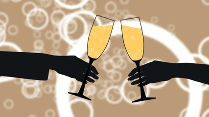 Zwei Personen mit Champagner stossen an