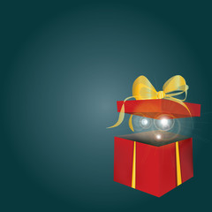 Christmas Present with Golden Ribbon. Vector of a gift Box