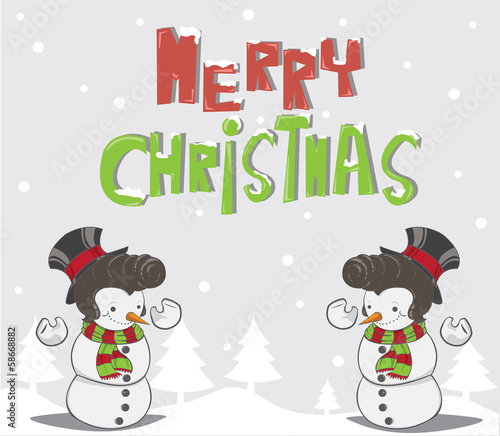 Snowman and christmas trees background