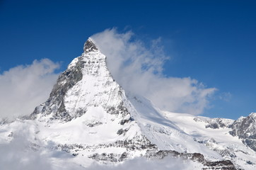 Matterhorn peak among clouds