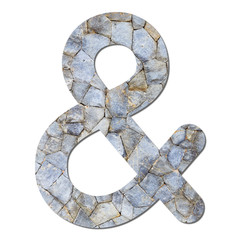 Font stone wall texture Ampersand sign