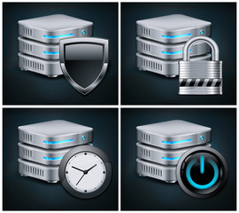 Database icons concept, isolated on black, vector illustration