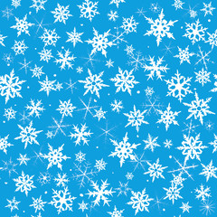 Seamless  pattern from snowflakes on blue background.