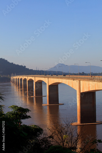 loas-japan bridge crossing Mekong river in Champasak  southern o