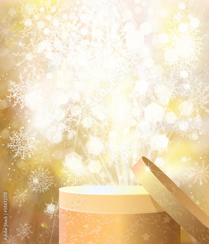 Vector golden open gift on christmas  lights background.