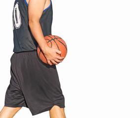basketball player walking on white