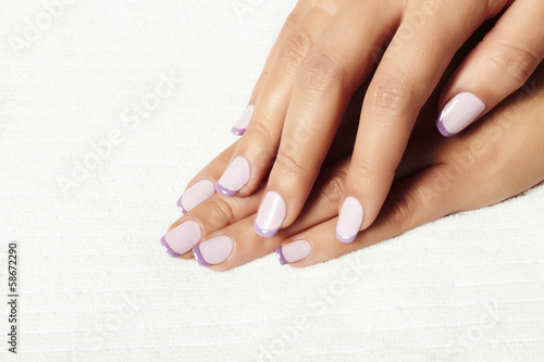 manicure.female hands.in beauty salon.shellac polish