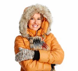 Young woman wearing winter coat.