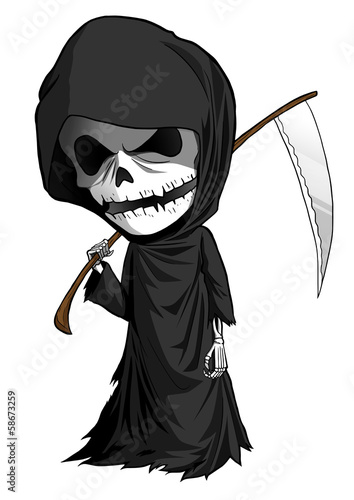 Illustration of grim reaper with scythe isolated on white