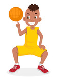 Cartoon illustration of a boy playing basketball