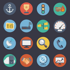 Flat Icons for Web and Applications Set 3.FTP & Hosting Icons