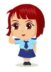 Cute cartoon illustration of a policewoman