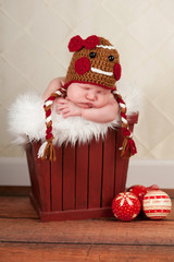 Newborn Baby in Gingerbread Girl Hat
