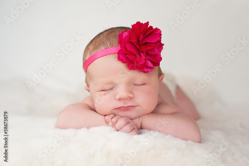 canvas print picture Newborn Baby Girl with Hot Pink Flower Headband