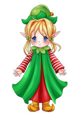 Cartoon illustration of cute character for Christmas