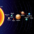 Solar system colorful vector background - 58674275