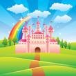 Fairy tale castle vector illustration - 58674281