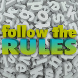 Follow the Rules Letter Background 3D Regulations Guidelines