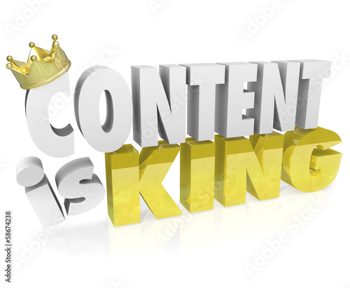 Content is King Quote Saying 3D Letters Crown Online Value