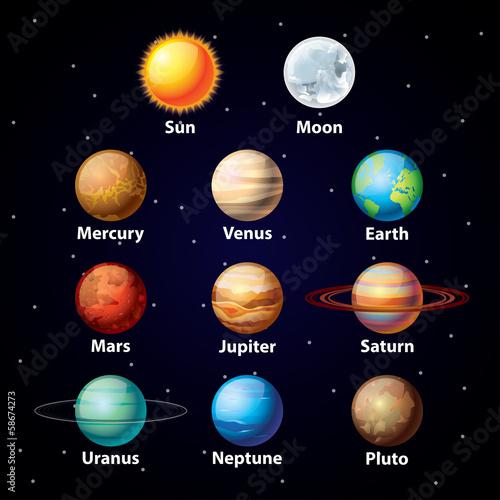 Tapeta Glossy planets vector set