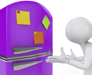 purple fridge with colored sticky notes close-up. 3D render.