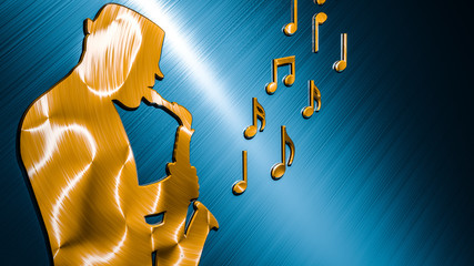 Saxophonist Background Bronze - Blue