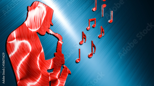 Saxophonist Background Red - Blue
