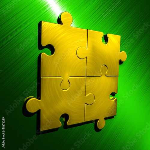 Puzzle Backgroung Green - Gold