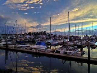 Dusk over Sailboats Chula Vista Marina Southern California