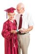 Senior Lady and Spouse Celebrate Her Graduation