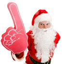 Sports Fan Santa with Foam Finger