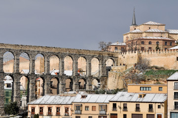 Segovia in a snowy day (Spain)