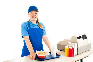 Teen Cashier Serves Fast Food