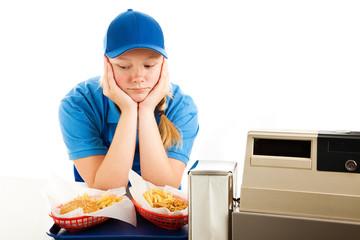 Depressed Teen Fast Food Server