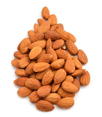 Nuts of almonds are filled to a drop form