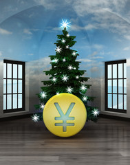 heavenly room with Yuan coin under glittering xmas tree
