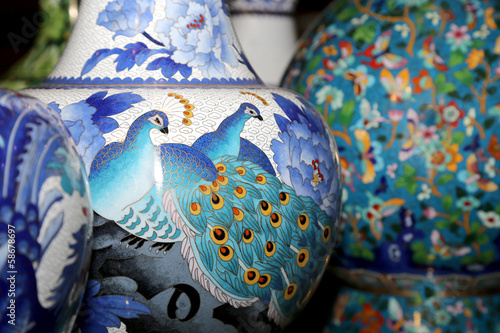 Traditional Chinese vases at a Chinese market