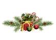 Zuckerstangen, Weihnachtskugeln und Tannenzweige