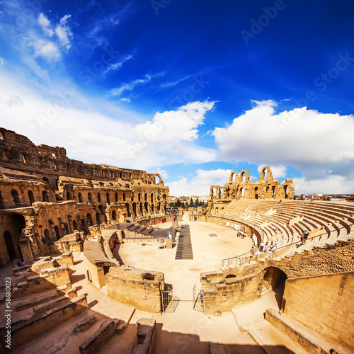 Ruins of the largest colosseum in North Africa. El Jem, Tunisia.