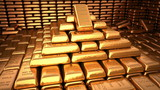 Fine Gold bars in bank