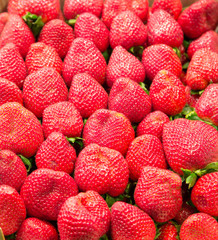 Fresh Whole Strawberries in a Market