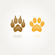 Cat and dog paw - vector illustration