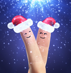 Santa's caps on fingers