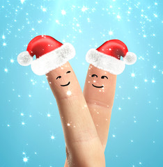 Santa hats on fingers
