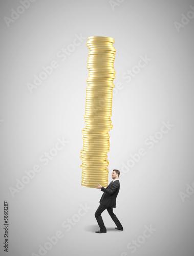 businessman holding coins